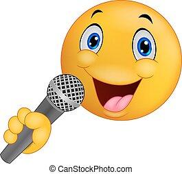 Cartoon Emoticon smiley singing - Vector illustration of...