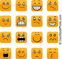 cartoon emoticons or facial emotions set - Cartoon...