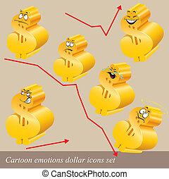 Cartoon emotions dollar icon set