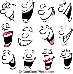 Cartoon faces and emotions for humor or comics design