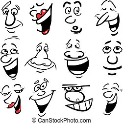 Cartoon emotions illustration - Cartoon faces and emotions...