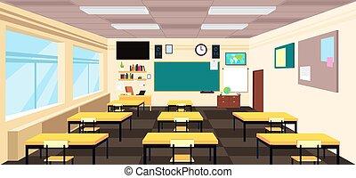 Cartoon empty classroom, high school room interior with desks and blackboard. Education vector concept