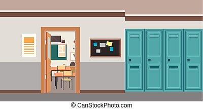 Cartoon empty school interior, open door in classroom