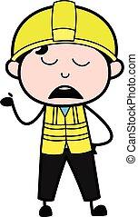 Cartoon Engineer Pensive
