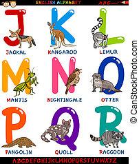 cartoon english alphabet with animals - Cartoon Illustration...