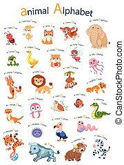 cartoon english alphabet with animals. Poster for kids. Isolated vector icons illustration set