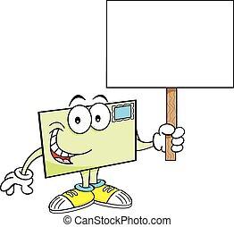 Cartoon envelope holding a sign.