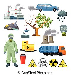 Cartoon Environmental Pollution Icons Set
