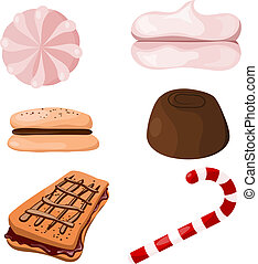 cartoon., eps10, セット, sweets.