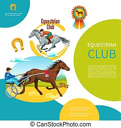 Cartoon Equestrian Club Colorful Template