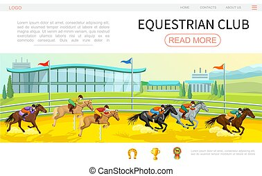 Cartoon Equestrian Competition Web Page Template