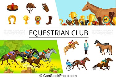 Cartoon Equestrian Sport Composition