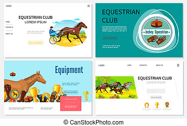 Cartoon Equestrian Sport Websites Set
