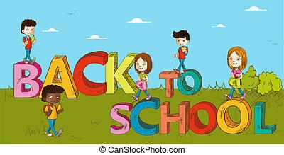 cartoon., escola brinca, educação, costas