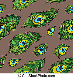 Cartoon ethnic vector Feathers seamless pattern