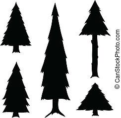 A set of cartoon evergreen tree silhouettes.