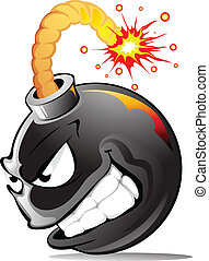 Cartoon evil bomb - Very evil cartoon bomb ready to explode!