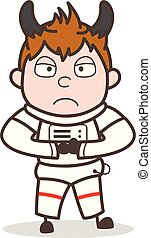 Cartoon Evil Cosmonaut Angry Face Expression Vector ...