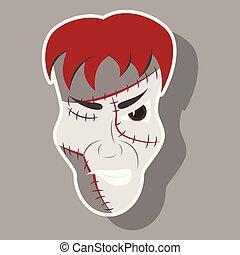 Cartoon evil Frankenstein Head sticker