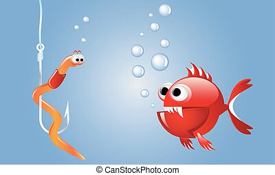Cartoon evil red fish looking