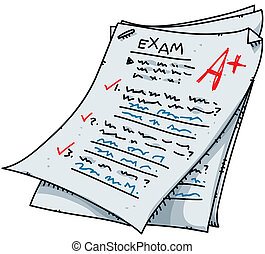 Cartoon Exam - A cartoon exam with an excellent mark.