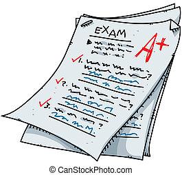 Cartoon Exam - A cartoon exam with an excellent mark.
