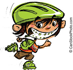 Cartoon excited boy with dental braces and big smile in sports skating with roller blades and carrying a backpack bag
