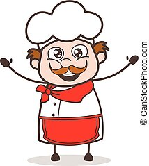 Cartoon Excited Chef Happy Face