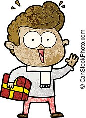 cartoon excited man with present