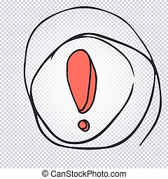 Cartoon exclamation mark with thought bubble