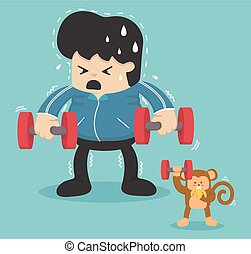 Cartoon exercise, Reducing weight by lifting a dumbbell