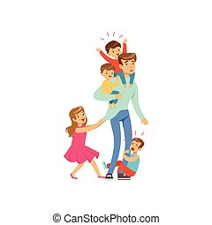 Cartoon exhausted father with his four little naughty kids