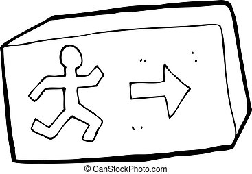 cartoon exit sign