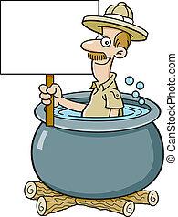 Cartoon explorer in a cooking pot h - Cartoon illustration...