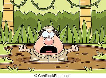 Cartoon Explorer Quicksand - A cartoon illustration of an...
