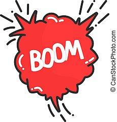 cartoon explosion boom in comic book