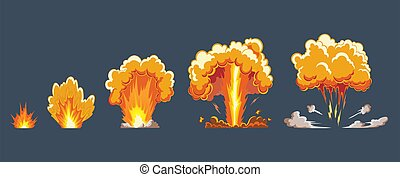 Cartoon explosion effect with smoke. Comic boom effect, ...