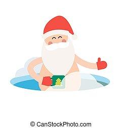 Cartoon extreme Santa ice-hole winter sport illustration