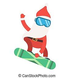 Cartoon extreme Santa snowboarder winter sport illustration
