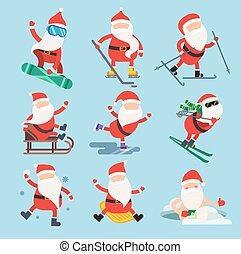 Cartoon extreme Santa winter sport illustration