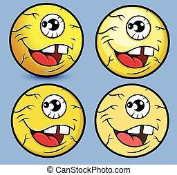 Cartoon Eye Ball Smiley Set