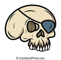 Cartoon Eye Patched Skull - Vector