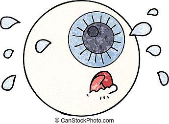 cartoon eyeball crying