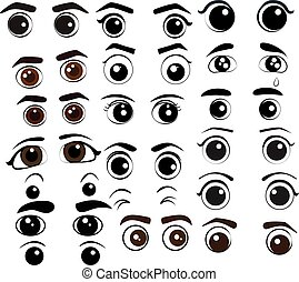 Cartoon eyes collection Vector Set