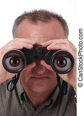 Cartoon Eyes in Binoculars