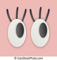 Cartoon eyes on pink background