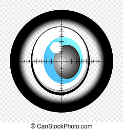 Cartoon eyes with sniper optical sight. Eyes looking for target. At gunpoint. View through the sight of a hunter rifle on an isolated transparent background. EPS 10.