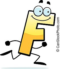 A cartoon illustration of a letter F running and smiling.