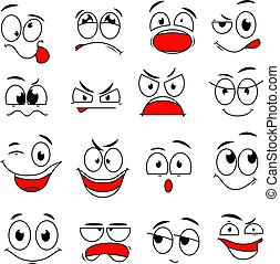 Cartoon face expression. Funny comic eyes and mouths with happy, sad and angry, surprise emotions. Doodle characters vector set