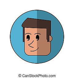 cartoon face man front smiling blue background shadow